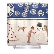 Making A Snowman At Christmas Shower Curtain by Patrick J Murphy