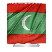 Maldives Flag Shower Curtain by Les Cunliffe
