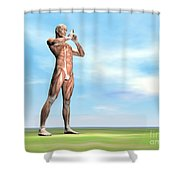 Male Musculature Standing On The Green Shower Curtain by Elena Duvernay