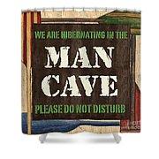 Man Cave Do Not Disturb Shower Curtain by Debbie DeWitt