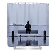 man on bench Shower Curtain by Joana Kruse