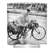 Man Riding Bicycle Carrying Chickens Shower Curtain by Stuart Corlett