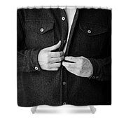Man Unbuttoning His Shirt Shower Curtain by Edward Fielding
