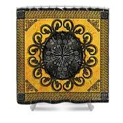 Mandala Obsidian Cross Shower Curtain by Bedros Awak