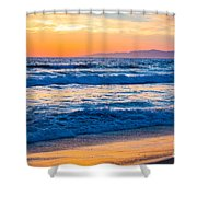 Manhattan Beach Sunset Shower Curtain by Inge Johnsson
