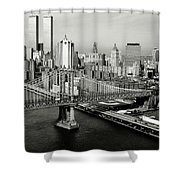 Manhattan Bridge Shower Curtain by Benjamin Yeager