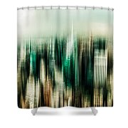 manhattan panorama abstract Shower Curtain by Hannes Cmarits