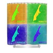 Manhattan Pop Art Map 2 Shower Curtain by Naxart Studio