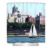 Manhattan - Sailboat Against Manhatten Skyline Shower Curtain by Susan Savad