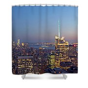 Manhattan Skyline from the Top of the Rock Shower Curtain by Juergen Roth