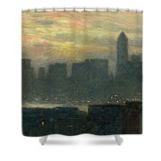 Manhattans Misty Sunset Shower Curtain by Childe Hassam