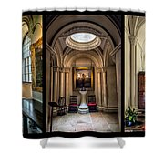 Mansion Hallway Triptych Shower Curtain by Adrian Evans