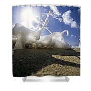 Marching Foam Shower Curtain by Sean Davey