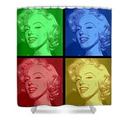 Marilyn Monroe Colored Frame Pop Art Shower Curtain by Daniel Hagerman