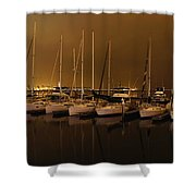 Marina At Night Shower Curtain by Jenny Hudson