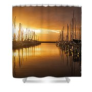 Marina Golden Sunset Shower Curtain by Mike Reid
