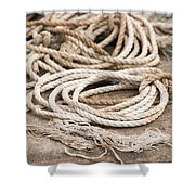 Marine Ropes Beige And Brown Colors Shower Curtain by Matthias Hauser