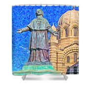 Marseille Cathedral Painting Shower Curtain by Antony McAulay