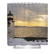 Marshall Point Lighthouse In Winter Maine  Shower Curtain by Keith Webber Jr
