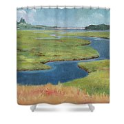 Marshes At High Tide Shower Curtain by Claire Gagnon