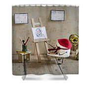 Marshmallow Masterpiece Shower Curtain by Heather Applegate