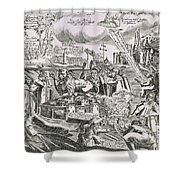 Martin Luther 1483 1546 Writing On The Church Door At Wittenberg In 1517  Shower Curtain by Swiss School