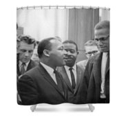 Martin Luther King Jnr 1929-1968 And Malcolm X Malcolm Little - 1925-1965 Shower Curtain by Marion S Trikoskor