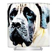 Mastif Dog Art - Misunderstood Shower Curtain by Sharon Cummings