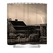 McIntosh Farm Lightning Sepia Thunderstorm Shower Curtain by James BO  Insogna
