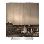 McIntosh Farm Lightning Thunderstorm View Sepia Shower Curtain by James BO  Insogna
