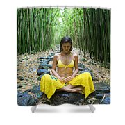 Meditation in Bamboo Forest Shower Curtain by M Swiet Productions