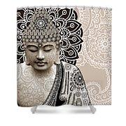Meditation Mehndi - Paisley Buddha Artwork - Copyrighted Shower Curtain by Christopher Beikmann