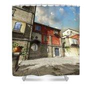 Mediterranean Street Shower Curtain by Cynthia Decker