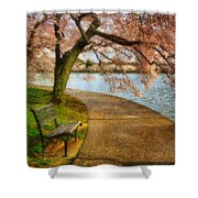 Meet Me At Our Bench Shower Curtain by Lois Bryan