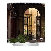 Meet Me For Coffee In The Courtyard Shower Curtain by Rene Triay Photography