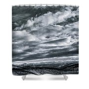 Melancholia Mountains And Even More Mountains Shower Curtain by Priska Wettstein