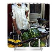 Melon Seller Old Medina Fez Morocco Shower Curtain by Ralph A  Ledergerber-Photography