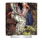 Merlin And Vivien Shower Curtain by Eleanor Fortescue Brickdale