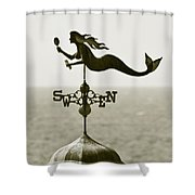 Mermaid Weathervane In Sepia Shower Curtain by Ben and Raisa Gertsberg