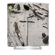 Message In The Sand Shower Curtain by Benanne Stiens