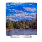 Methow River Crossing Shower Curtain by Omaste Witkowski