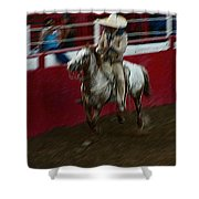 Mexican Cowboy July 4th Rodeo Chandler Arizona 1999 Shower Curtain by David Lee Guss