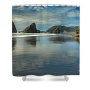 Meyers Creek Sea Stack Blues Shower Curtain by Adam Jewell
