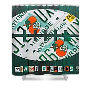 Miami Dolphins Football Recycled License Plate Art Shower Curtain by Design Turnpike