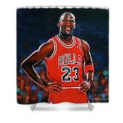 Michael Jordan Shower Curtain by Paul Meijering