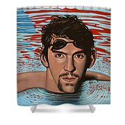Michael Phelps Shower Curtain by Paul Meijering