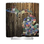Michigan Counties State License Plate Map Shower Curtain by Design Turnpike