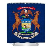 Michigan State Flag Shower Curtain by Pixel Chimp