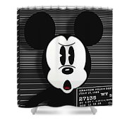 Mickey Mouse Disney Mug Shot Shower Curtain by Tony Rubino