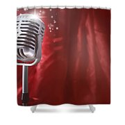 Microphone Shower Curtain by Les Cunliffe